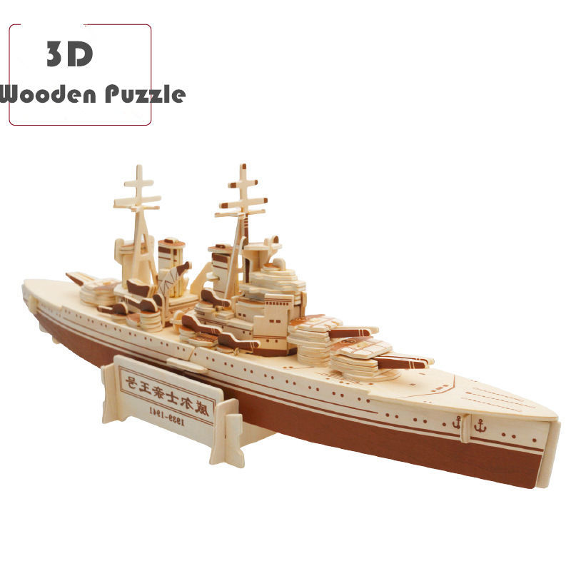 Wholesale 3D Wooden Puzzle Boat Series Model Building Kits Educational Toys DIY Building Toys for Children Gifts Kids Toys