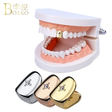 BOAKO Rose Gold Teeth grillz Hip Hop Rapper Grills Dental Punk Caps Tooth Jewelry Party Gift Z5