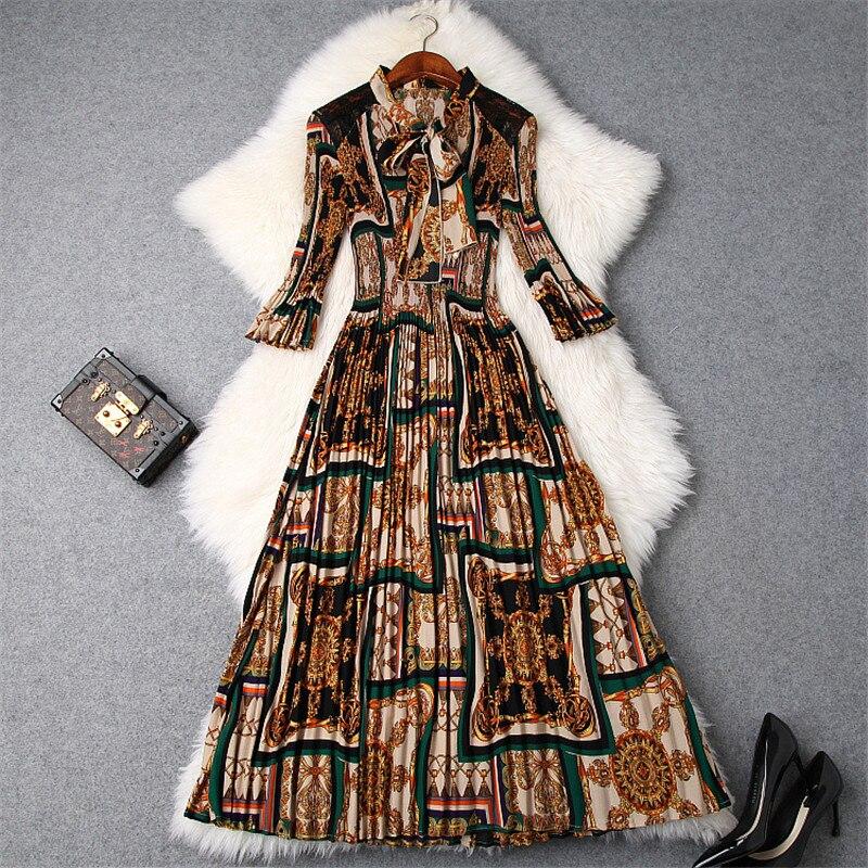 Printemps Robes pour Femmes 2019 Nouveau À La Mode Mode Arc Col Vintage Imprimer Mi-mollet Plissée Casual Robe Femme Vêtements Robes