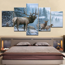 Canvas HD Prints Pictures Wall Art 5 Piece Bull Moose Crossing Stream Painting Home Decor Elk Snow Mountain Poster Framework