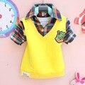On Sale 2016 Весна новый 1 2 3 y ребенка мальчики одежда отложным воротником плед полный рукав tooders детские Футболки A026