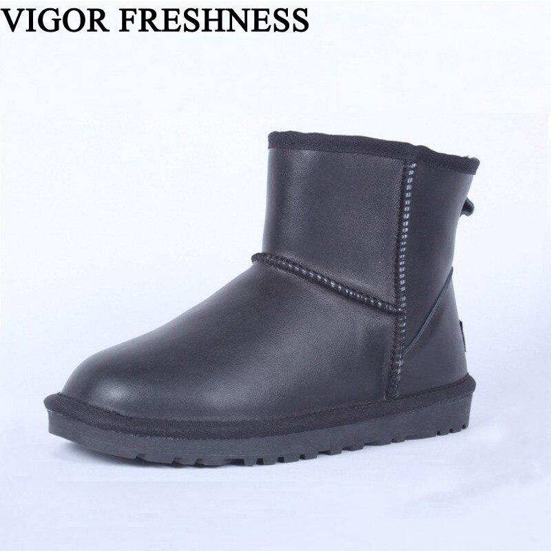 VIGUEUR FRAÎCHEUR Bottes Femme Chaussures Australie Style Neige Bottes D'hiver Imperméables En Cuir de Vache Chaussures Femmes Marque Bottes Slip-on SN7
