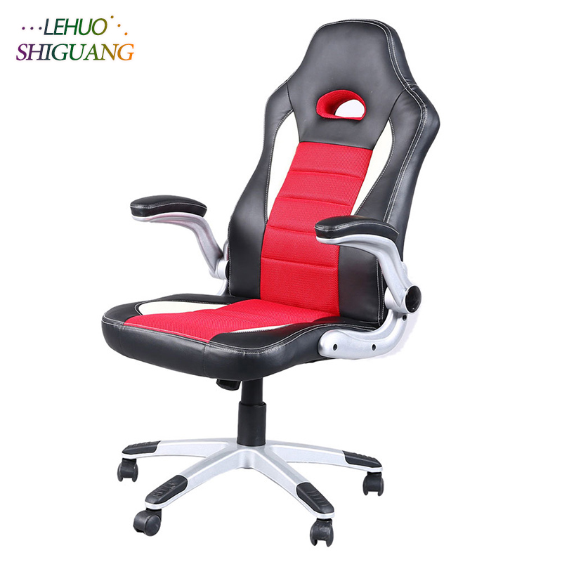 Red black PU leather High Back Swivel Chair Gaming Chair Rotating lift soft Comfortable office chair Fashion office furniture цена