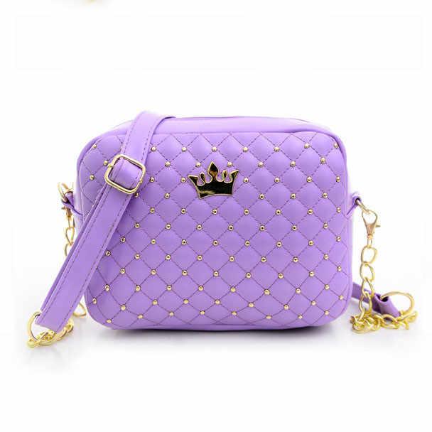 MIni couronne femmes sacs de messager Rivet chaîne épaule petites femmes sac en cuir sac à main bandoulière sacs pour femmes Bolso mujer