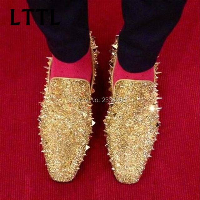 New Factory Customized Men Luxury Shinny Glitter Gold and Silver Spikes Shoes Slip On Loafers Rivets Men Casual Shoes Hot