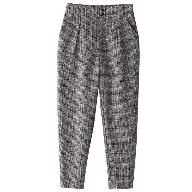 Toyouth กางเกงสตรีแฟชั่นฤดูหนาวฤดูใบไม้ร่วง VINTAGE สีเทาตารางสบายๆกางเกงผู้หญิงกางเกงกางเกงหญิง Streetwear Capris กางเกง