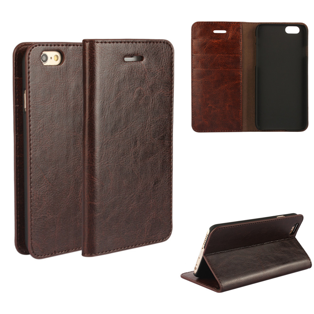 Coque For iphone 6 6s Genuine Real Flip Leather Case Protective Cover Fundas Brown Black Capa ipone 6 Cases Etui Accessory Bags