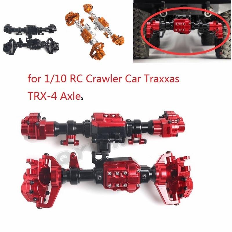 QYWWRC TRX4 aluminiowe przednie i tylne Portal obudowa osi dla 1/10 gąsienica RC samochód Traxxas TRX 4 tylne mosty części do modernizacji w Części i akcesoria od Zabawki i hobby na  Grupa 1