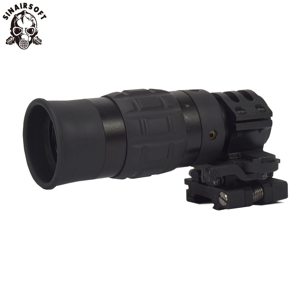 SINAIRSOFT Tactical Zooming 1.5-5X Magnified Optics Magnifier Scope with Flip to Side Mount for Hunting tac vector optics tactical 30mm flip to side 90 degree weaver picatinny mount ring for 3x 4x 5x magnifier scopes