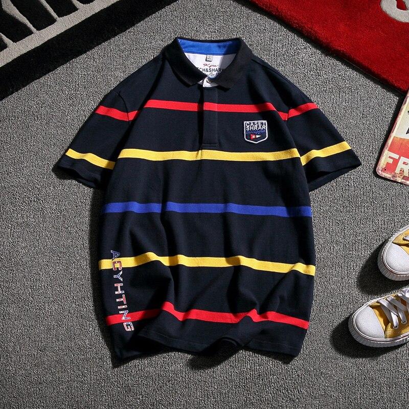 2019 premium brand fashion Male Pure cotton short sleeve   POLO   shirts/Men's slim stripe Leisure   POLO   shirts Plus size S-5XL