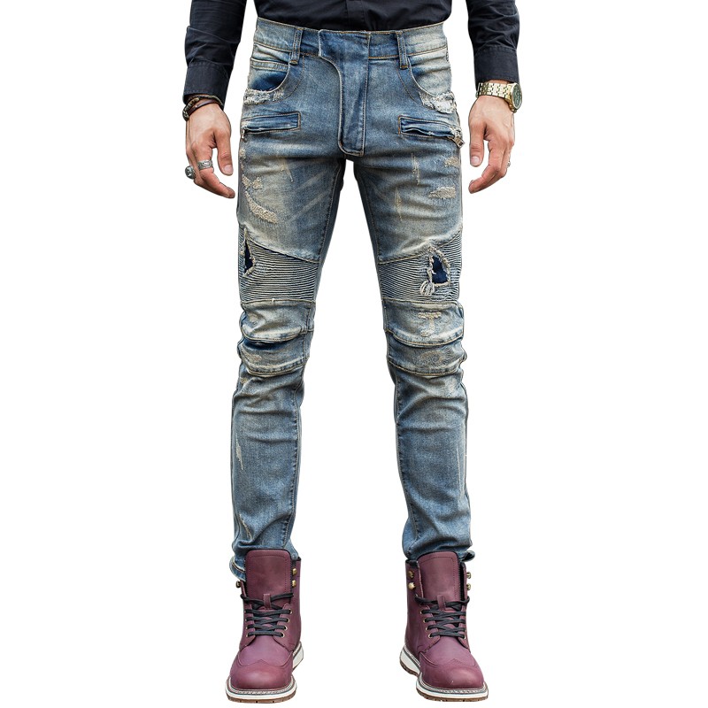 Light skinny jeans with holes