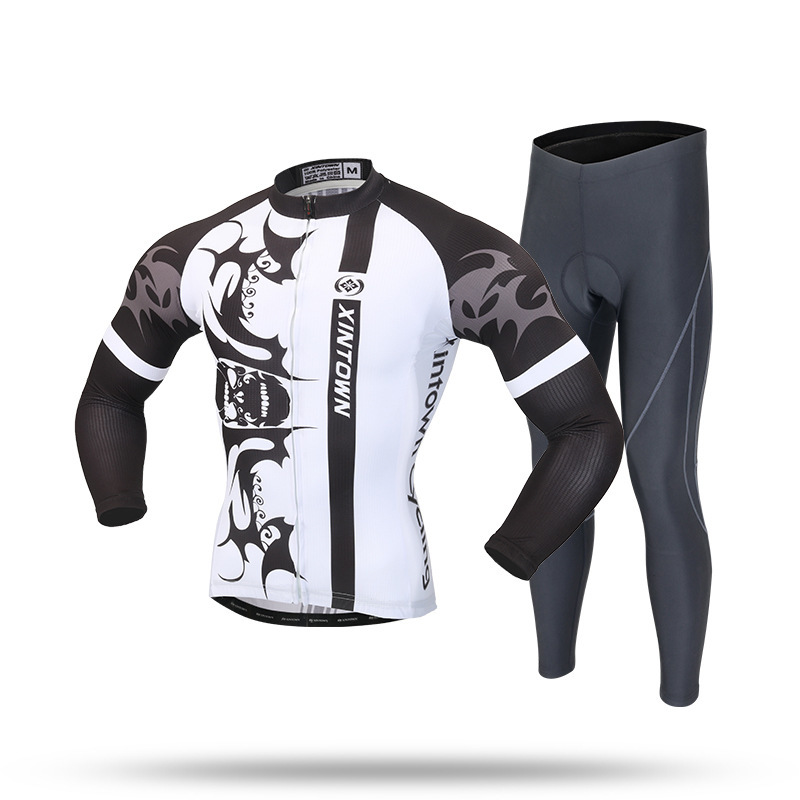XINTOWN Spring Team Men's Cycling Clothing Bike Bicycle Long Sleeve Jersey Jacket Sets And Tights Pants Cooree Bike Equipments wosawe men s long sleeve cycling jersey sets breathable gel padded mtb tights sportswear for all season cycling clothings