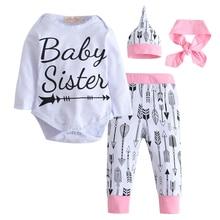 2017 Fashion Newborn Baby Girls Autumn  Baby Clothing Baby Clothing Set Cotton Romper +Pants + Hat +Headband Toddler 4 pcs set