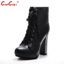 Women Ankle Boots Elegant Lace Up Pointed Toe Spike Heels Boots Woman High Quality Heeled Footwear Shoes Size 35-46 B096