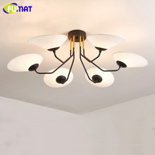 Fabric Ceiling Lamp Living Room Bedroom Light American Country Petal Decoration Lighting Metal Body Ceiling Light 6 Head/8 Heads