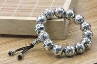 JINSE Buddha Jewelry S925 Thai Silver Bracelet Archaize Style Bracelet Heart Sutra 12mm Beaded Bracelet Couples Personality Gift