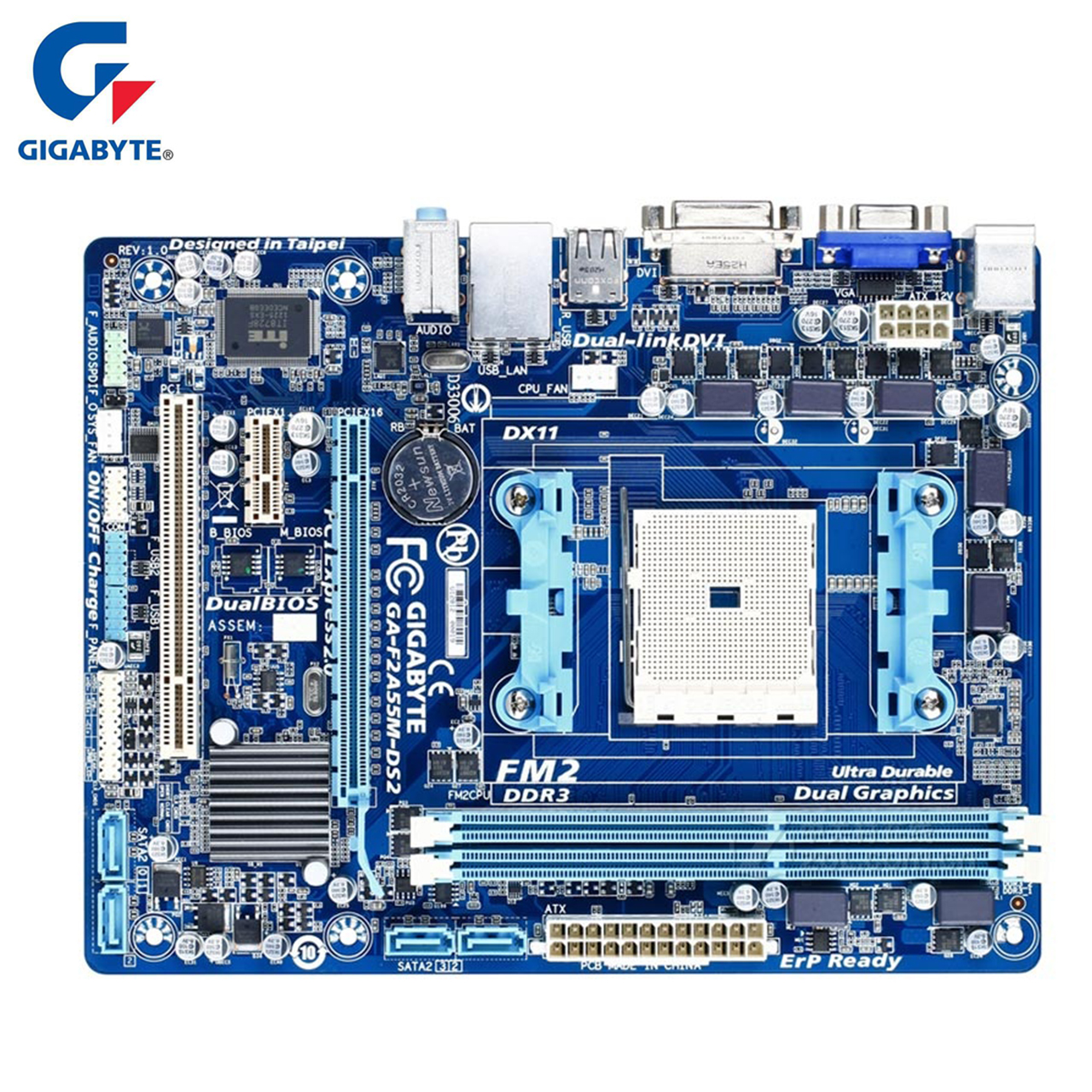 Gigabyte Motherboard GA-F2A55M-DS2 100% Original DDR3 Desktop Mainboard Boards F2A55M-DS2 Socket FM2 A55 64GB Systemboard Boards original motherboard for gigabyte ga f2a55m ds2 ddr3 socket fm2 f2a55m ds2 board a55 usb2 0 desktop motherborad free shipping