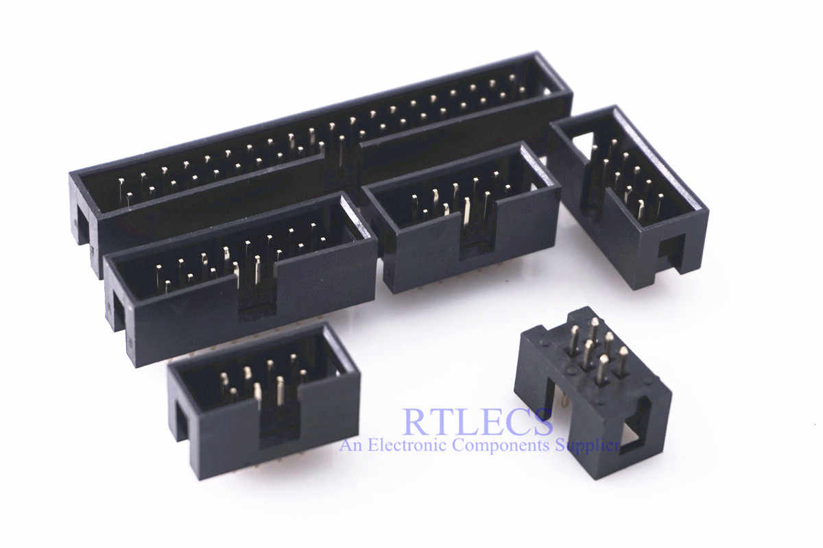 "10 Pcs 0.10 ""Gehuld Box header IDC Socket Paring 2.54mm Male vierkante pin 0.64mm 2 rijen ruimte 2.54 Through hole DIP"