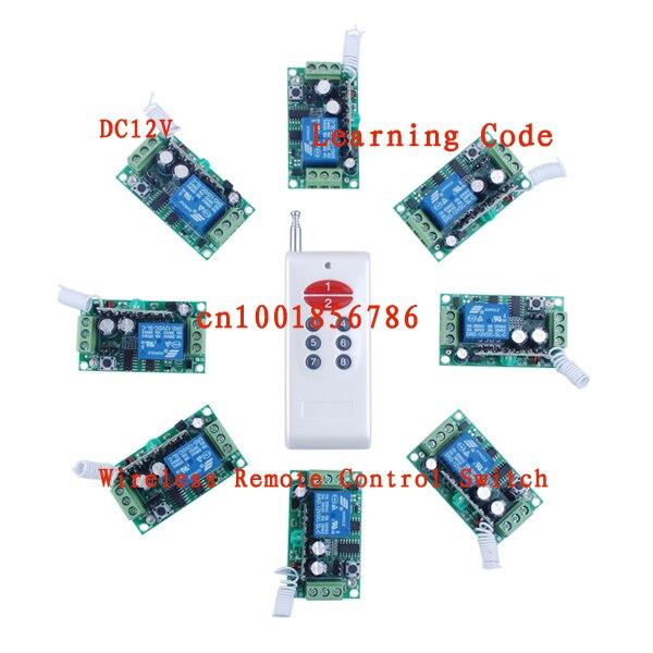 Livraison gratuite 12 V 8CH Interrupteur RF Sans Fil Système de Contrôle À Distance émetteur et 8 récepteur (interrupteur) Sortie l'état est Réglable