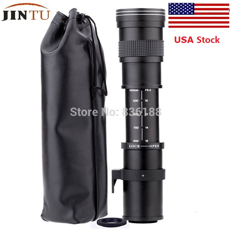 JINTU 420-800mm f/8.3-16 Telephoto Zoom MF Lens+T2 mount for Nikon Camera D5100 D5300 D5200 D3400 D3300 D3200 D3100 D90 d80 dste dc111 en el14 battery charger for nikon d3200 d5200 d5300 df p7700 p7800 more slr cameras