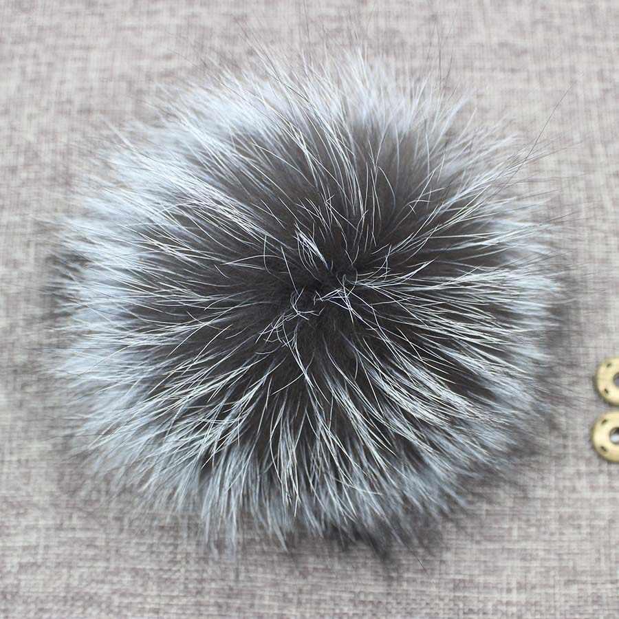 Diy 14-15cm grande pele de raposa pompons bolas de pele para chapéu de malha gorros de inverno e chaveiro e cachecóis de pele de raposa real pom pompons