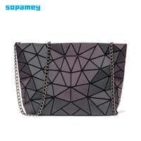 Bolsos de mano de cadena pequeña de moda bolsos de hombro de geometría luminosa para mujer bolsas de mensajero plegables lisas bolso de embrague