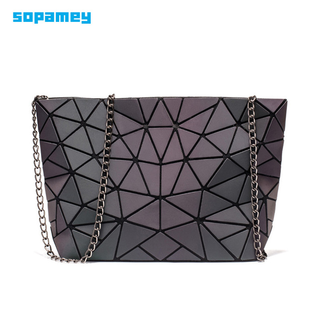 Fashion Small Chain Handbags Bag Women Luminous Geometry Shoulder Bags For Female Plain Folding Messenger Bags Clutch sac bolso