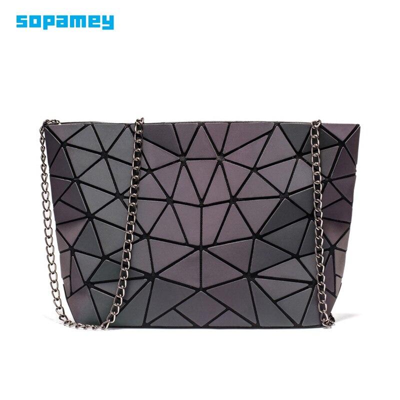 Mode petite chaîne sacs à main sac femmes géométrie lumineuse sacs à bandoulière pour femme plaine pliante Messenger sacs pochette sac bolso