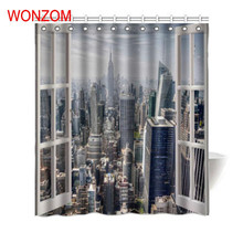 WONZOM 3D Modern City Castle Shower Curtains For Bathroom Decor Landscape Bath Curtain with 12 Hooks Mildewproof Gift