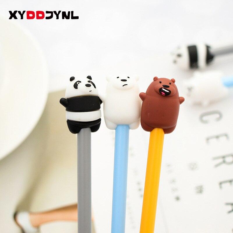 2 Pcs Cute Pen Kawaii Cartoon Panda and Polar Bear Black Ink Gel Pen 0.38mm Korean stationery Canetas School Office Supplies