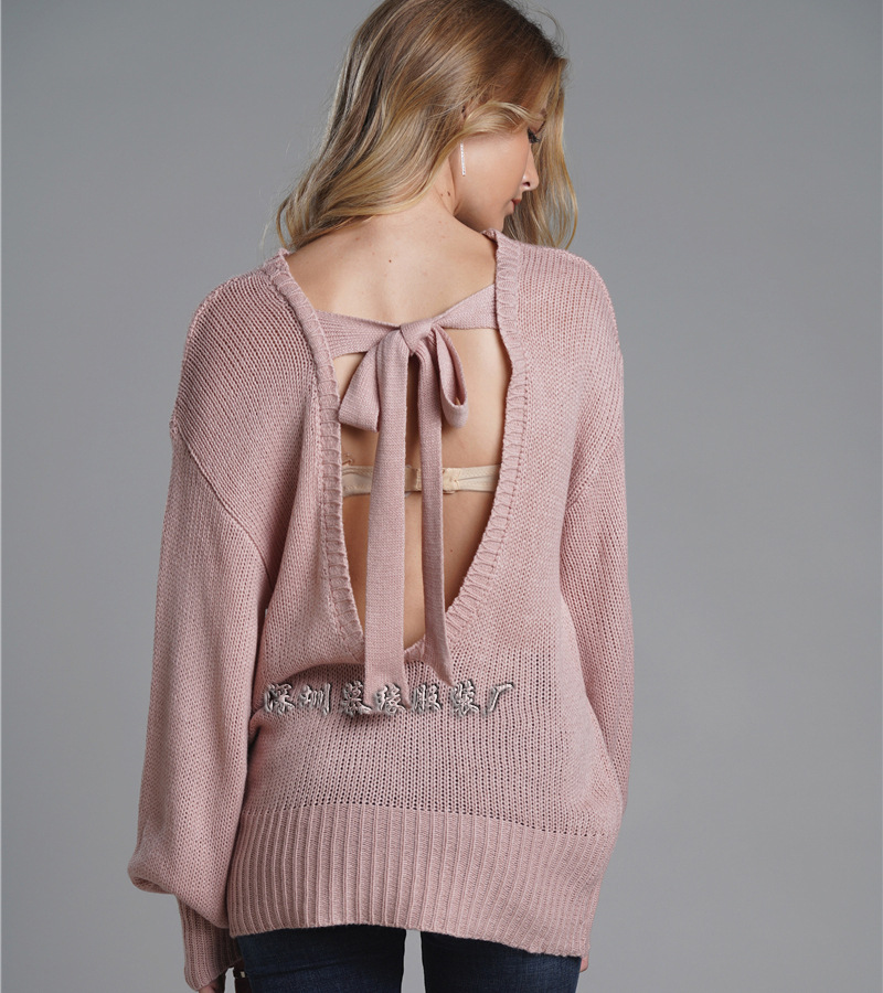 Autumn Winter Pink Sweater Women Sexy Bow Halter Sweater Cute Bow-Tie Lantern Sleeve Female Pullover Women Knitted Tops Clothes
