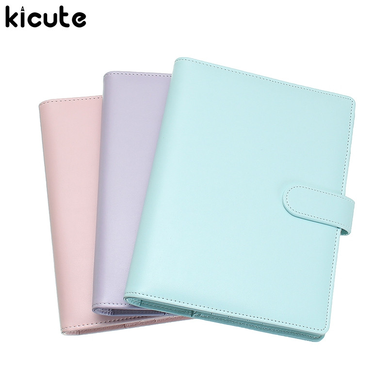 Kicute Candy Color A5 Leather Cover Loose Leaf Notebook Spiral Binder 6 Hole Loose Leaf Notepad Weekly Monthly Planner Gift zhongjia zj 5922 loose leaf notebook w 8 digit calculator artificial leather zipper cover black