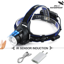 ИК Сенсор светодиодные фары XM-L2 фар Micro USB Перезаряжаемые водонепроницаемый лобовой Фонарь налобный фонарик 18650 Рыбалка Свет