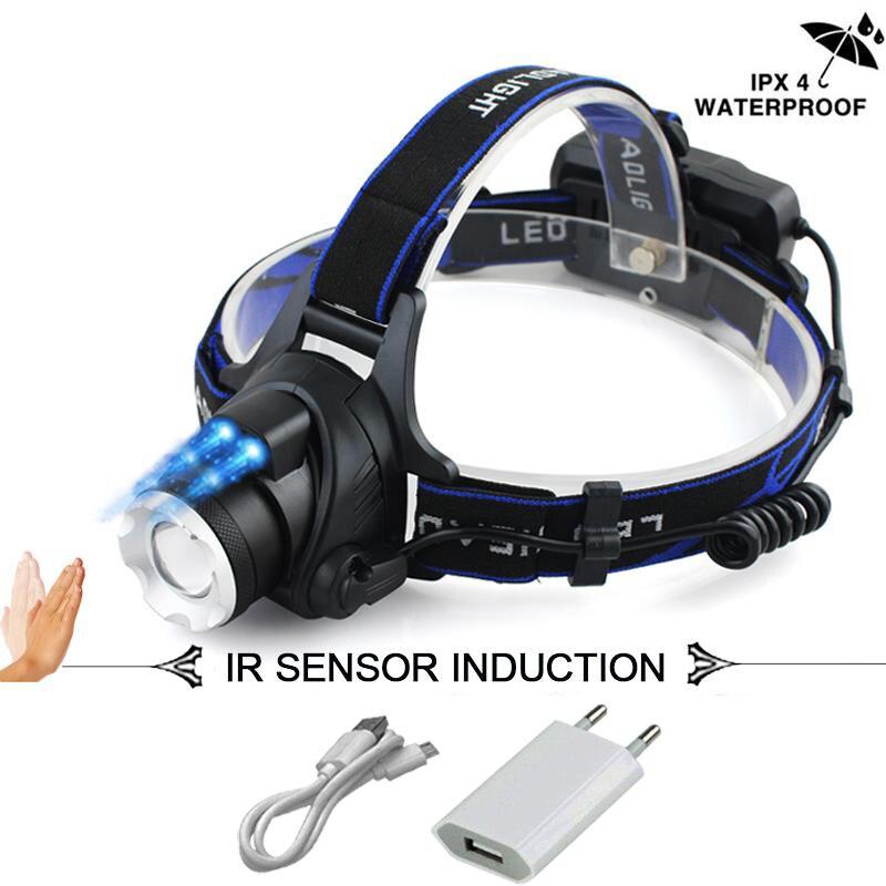 IR Sensor led Scheinwerfer XM-L2 Scheinwerfer Micro USB Aufladbare kopf lampe wasserdichte Kopf Taschenlampe 18650 angeln licht led