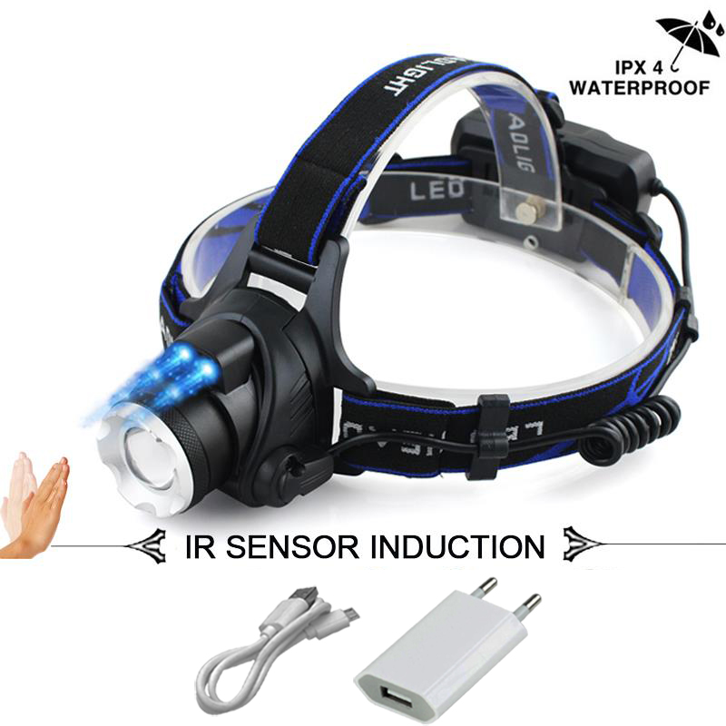 Sensor IR led faro XM-L2 faro Micro USB recargable lámpara de cabeza impermeable de la linterna antorcha de pesca de 18650 luz led