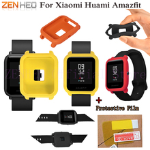 For Huami Amazfit Youth Silicone protective frame case with protective film for Xiaomi Huami Bip BIT PACE Lite Youth Smart Watch for xiaomi huami amazfit bip bit pace youth smart watch frame protective case for huami amazfit bip bit cover watch accessories