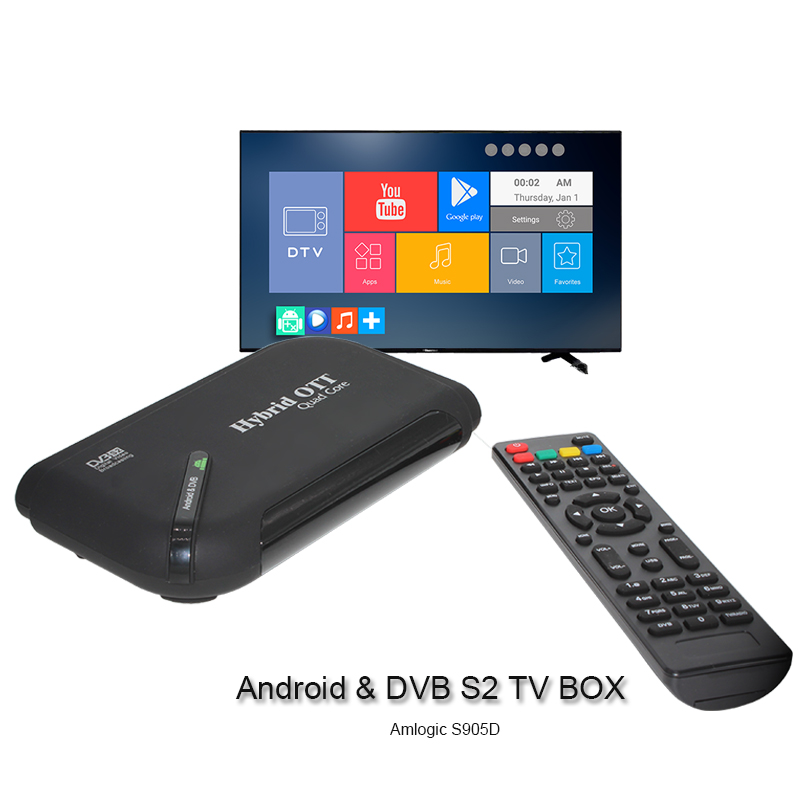 Android 7.1 TV BOX Satellite Receiver Double mode TV BOX Amlogic S905D Chip Support Arabic IPTV Subscribe Smart TV BOX