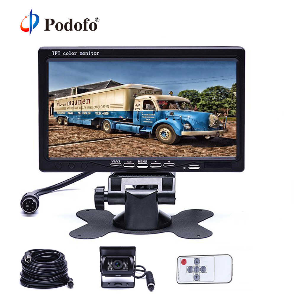 Podofo Car Monitor 7 Color TFT Rearview Vehicle Parking System IR LED Night Vision Reverse Camera