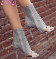 New Fashion Stretch Knit Women Open Toe Ankle Boots Cut Out Holes Ladies High Heel Boots Zipper Back Dress Boots