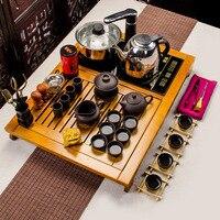 Cao cấp đất sét ấm trà trà Yixing đặt vuông khay gỗ bốn trong một bộ của bán buôn tea kettle