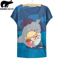Fast Fashion Blue Totoro Print T Shirt Women Tops Tees New Summer Dress Girls Big Size