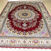 Mingxin 6x9 Feet Red Sunflower Large Carpet Hand Knotted Persian Silk Rugs For Living Room Area