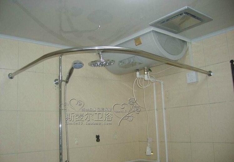 L type stainless steel curved bathroom shower rod U bath corner ...