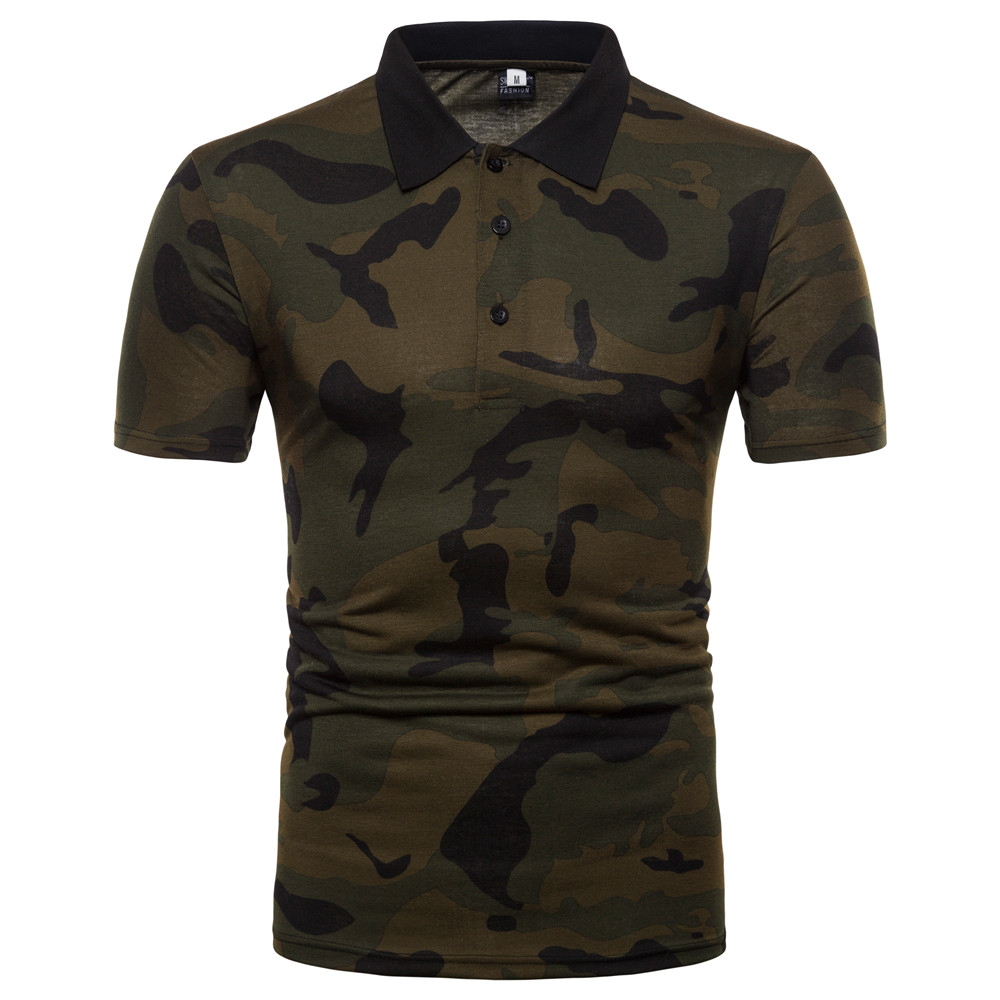 2019 Fashion New Summer Camouflage Mens   Polo   Shirt Outdoor Sport 2 Colors 5 Sizes