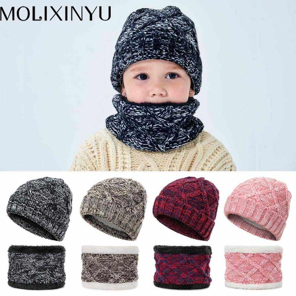 MOLIXINYU ใหม่อุ่นฤดูหนาวหมวกเด็กหญิงและหมวกผ้าพันคอชุดเด็กทารกหนาถักหมวกฤดูหนาว 1-8 ปี Oold เด็กหมวกฤดูหนาว
