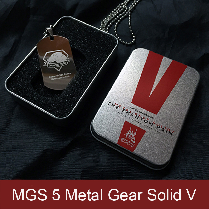 MGS 5 Metal Gear Solid V The Phantom Pain Two Sided Dogs Of War Fox Unit Venon Snake Logo Metal Dog Tag Pendant Necklace