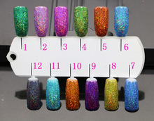 Holographic Laser Nail Glitter Powder Holo Dust Manicure 12Mixed Colors(0.1MM)1/256Holographic Shining dust