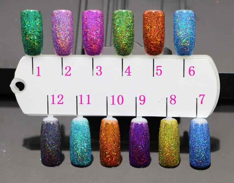 Holographische Laser-nagel-funkeln-puder Holo Staub Maniküre 12 Mischfarben 1/256 holographische Laser Glänzende Nagel Staub Glitter 0,1 Mm