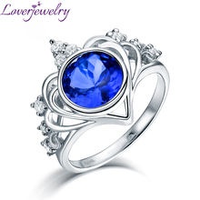 Imperial Crown Shape  Natural Tanzanite Ring Real 14K White Gold Shining Diamond Jewelry Christmas Gift for Wife and Mom