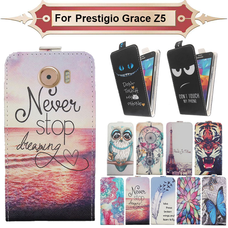 Top Selling 11 Colors Cartoon Pattern Up and Down Flip PU Leather Case For Prestigio Grace Z5